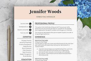 Feminine Resume Template / Woods
