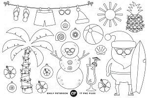 Christmas Beach Digital stamps