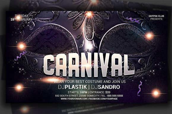Carnival And Mardi Gras Party Flyer Flyer Templates Creative Market