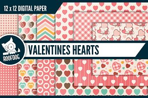 Valentines hearts digital paper