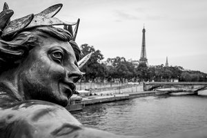 Statue on Pont Alexandre III in Pari