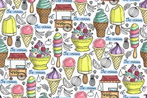 Pattern with ice-cream and fruits