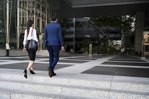 Business people on the way to work