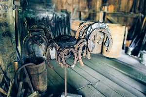 Brown rusty antique horseshoes