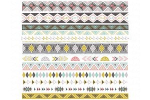 Tribal Ribbon Border Set