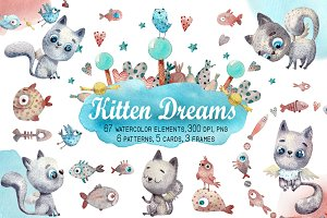 Kitten Dreams - Watercolor Clip Art