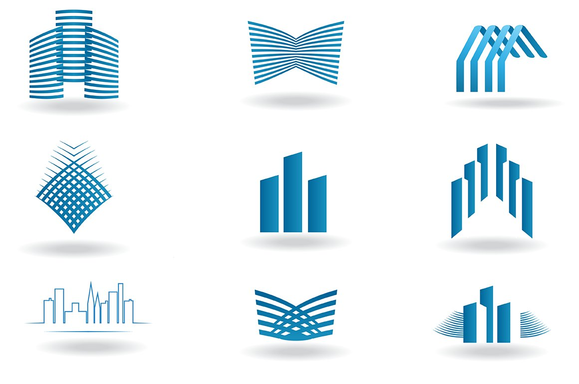 Building and construction logos icons creative market for Design company