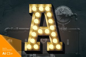 Light up black alphabet