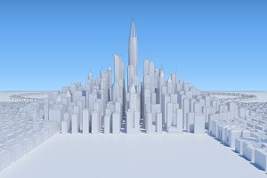 cityscape group white skycrapers wit