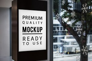 Mockup of a sign board (PSD)