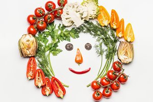 Funny face made with vegetables