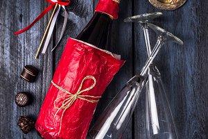 Wine, chocolate, glass and hearts