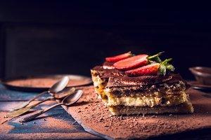 Strawberries tiramisu cake