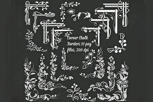 Corner Chalk  Borders Clip Art