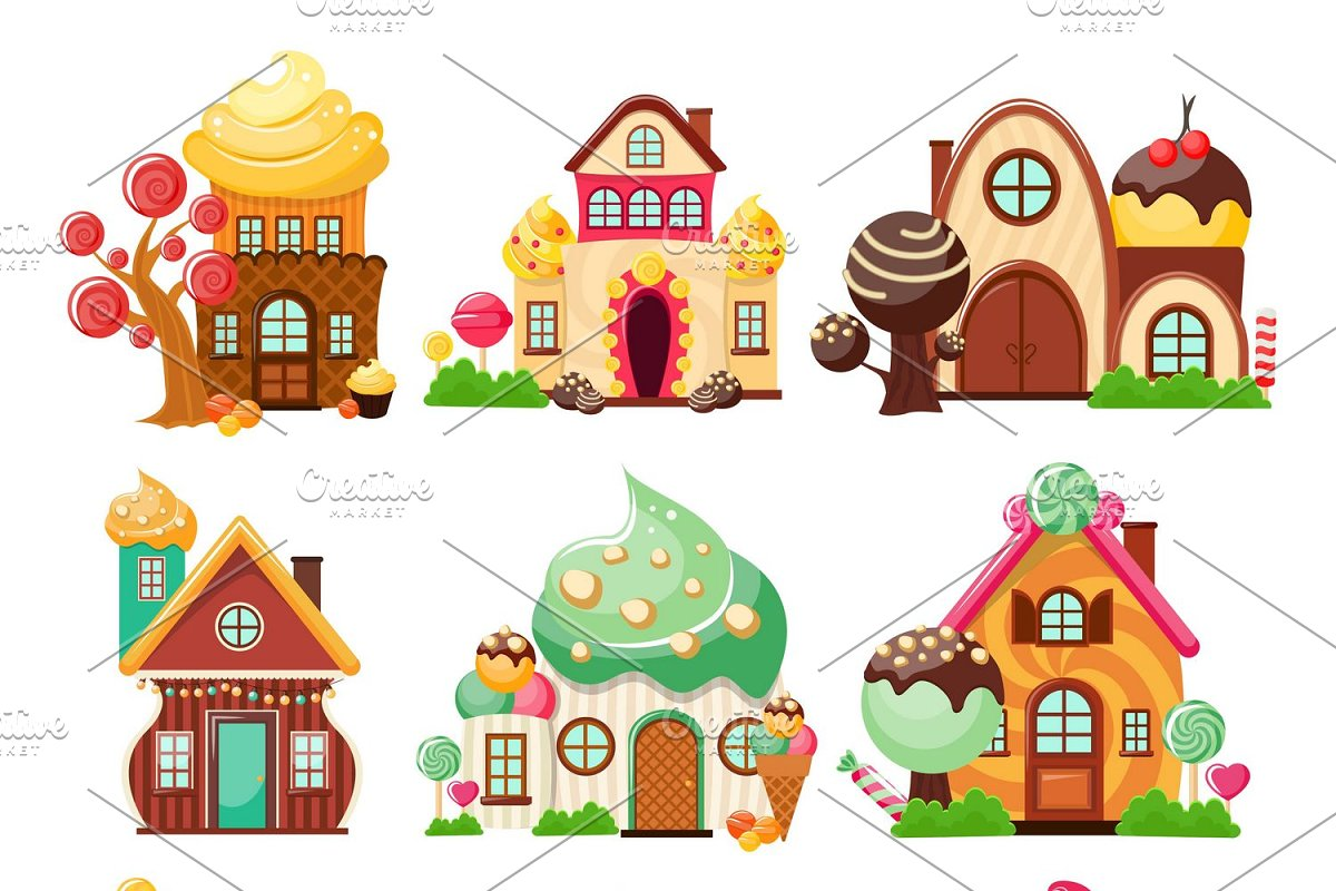 Candy Houses Icon Set