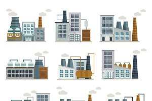 Factory Decorative Flat Icons Set