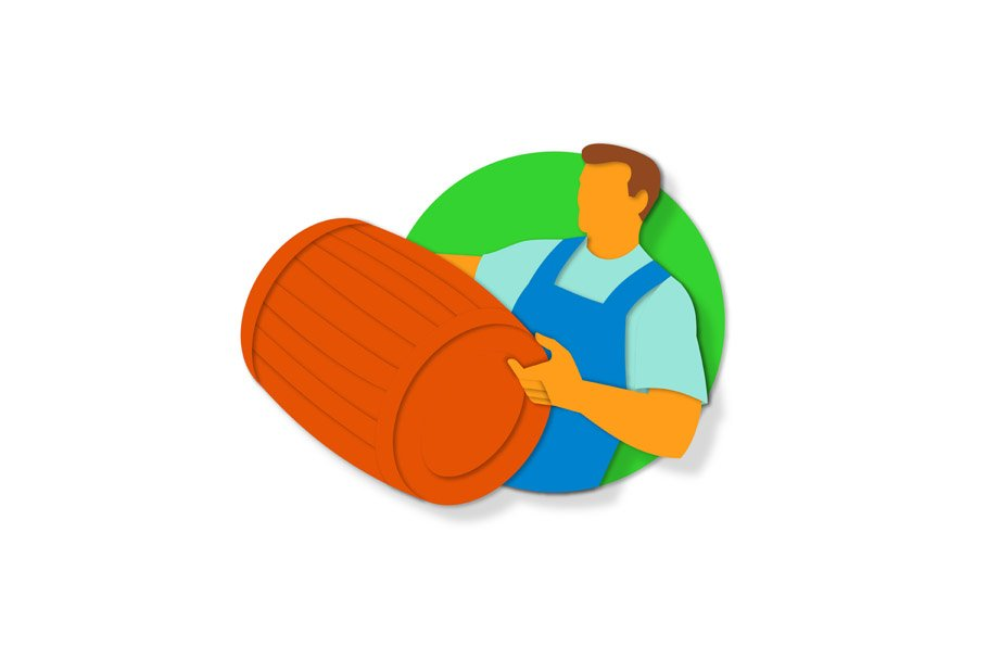 Winemaker Holding Barrel Paper Cut