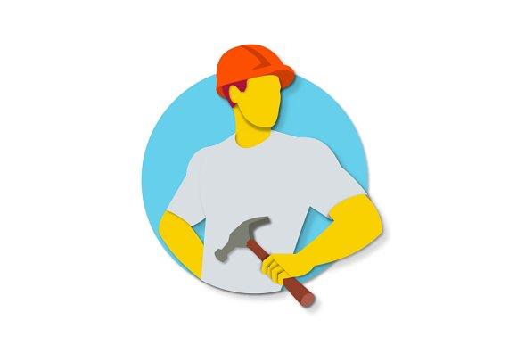 Builder Holding Hammer Paper Cut