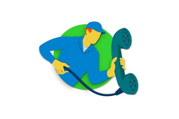 Telephone Repairman Phone Paper Cut