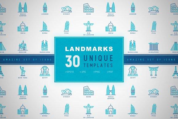Landmarks Icons Set Concept