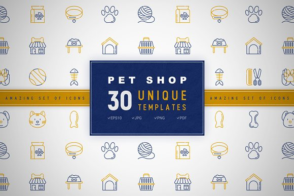 Pet Shop Icons Set Concept