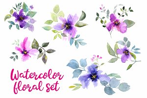 Watercolor flowers set 2