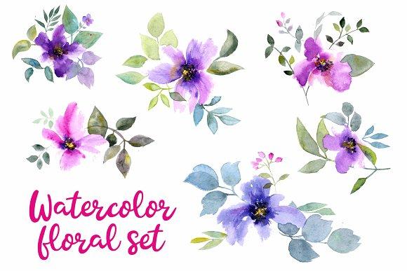 Watercolor flowers set 2
