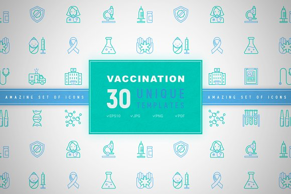 Vaccination Icons Set Concept