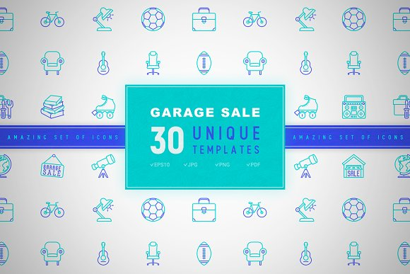 Garage Sale Icons Set Concept