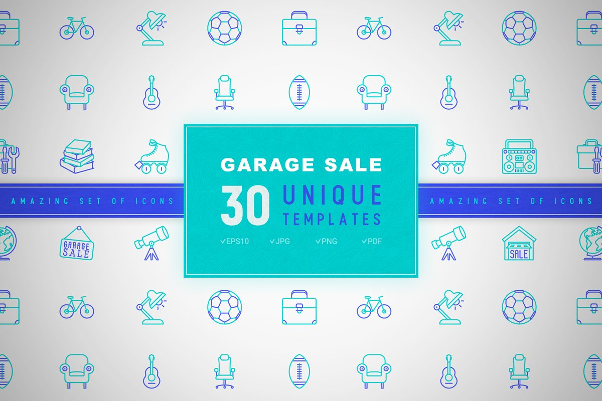 Garage Sale Icons Set | Concept