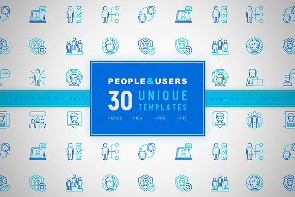 People And Users Icons Set Concept