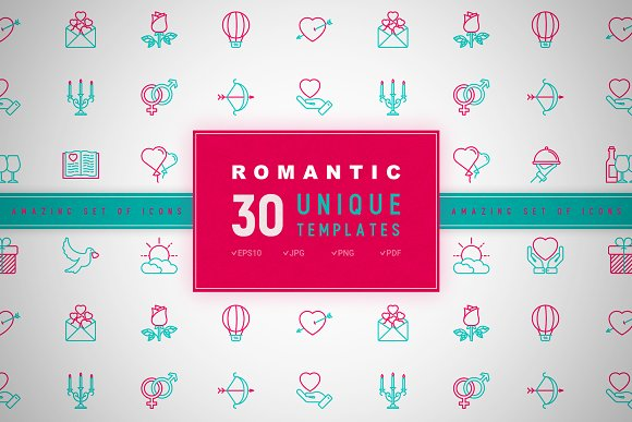 Romantic Icons Set Concept