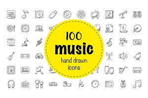 100 Music Hand Drawn Icons Set