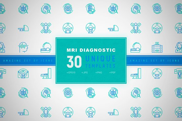 MRI Diagnostic Icons Set | Concept