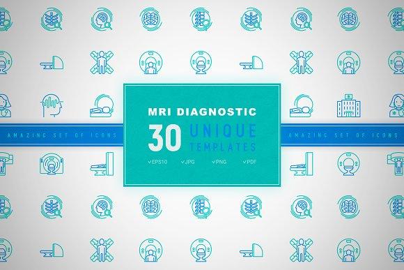 MRI Diagnostic Icons Set | Concept in Graphics