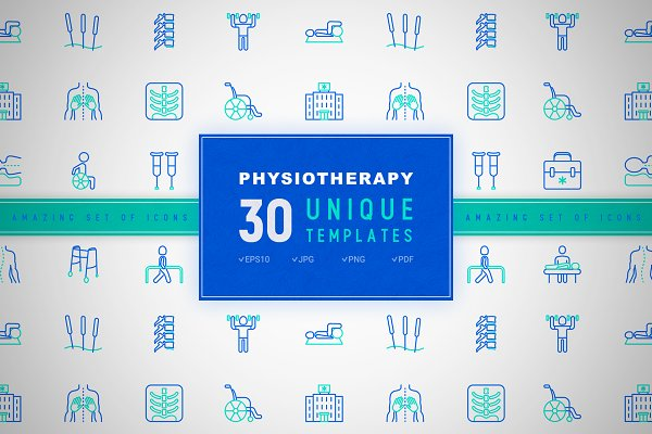 Physiotherapy Icons Set   Concept