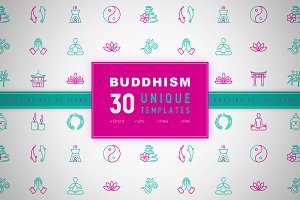 Buddhism Icons Set | Concept