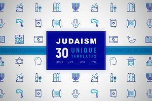 Judaism Icons Set | Concept