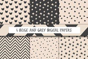 Beige and dark grey digital paper