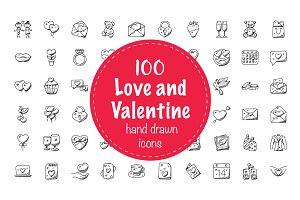 100 Love and Valentine Doodle Icons