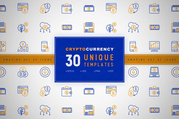 Crypto Currency Icons Set   Concept