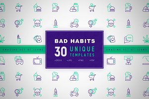 Bad Habits Icons Set | Concept
