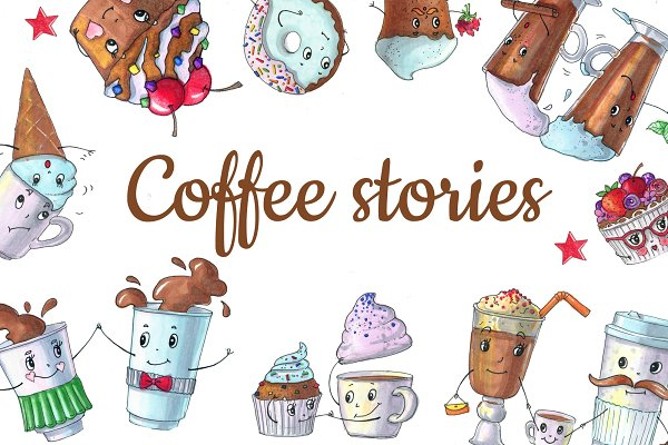 Coffe stories, muffins and coffee