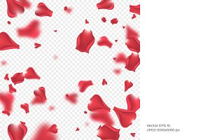 Flying rose petals background.