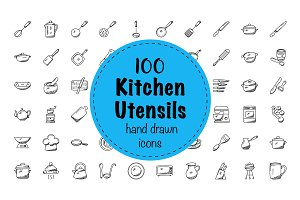 100 Doodles of Kitchen Utensils