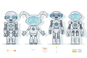 Futuristic android robot characters