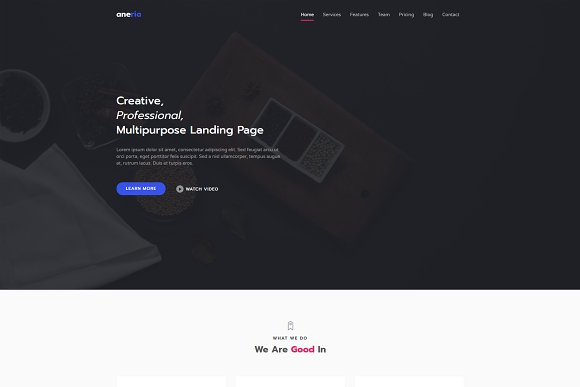 Aneria Landing Page Template