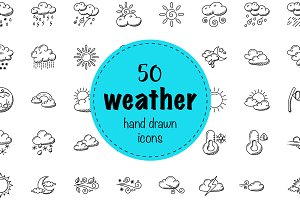 50 Hand Drawn Doodle Weather Icons
