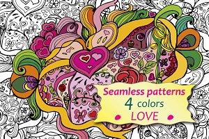 Caricature seamless pattern – love.