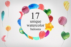 Watercolor baloon set